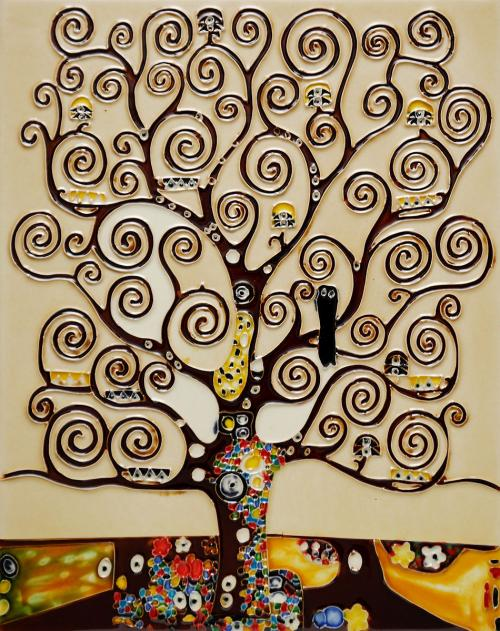 Art Reproduction Oil Painting - Tree of Life Trivet/Wall Accent Tile (felt back) - Tile 11 X 14 - Hand Painted Canvas Art