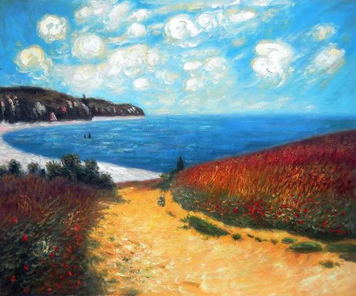 Art Reproduction Oil Painting - Monet Paintings: Meadow Road to Pourville, 1882 - Classic 20 X 24 -