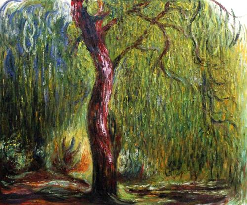 Art Reproduction Oil Painting - Monet Paintings: Weeping Willow - Classic 20 X 24 - Hand Painted Can