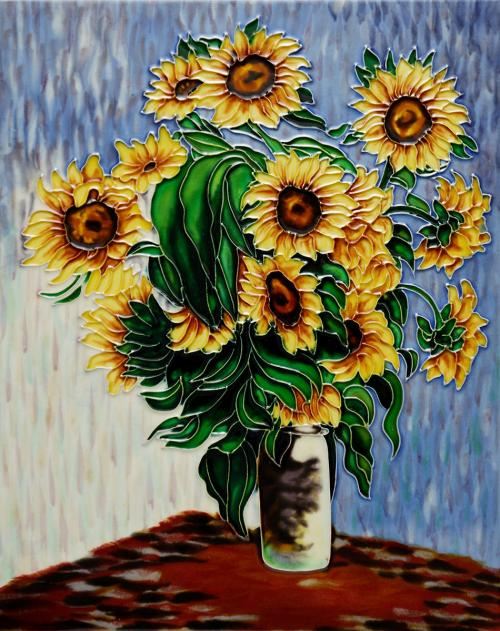 Art Reproduction Oil Painting - Sunflowers Wall Tile - Tile 11 X 14 - Hand Painted Canvas Art