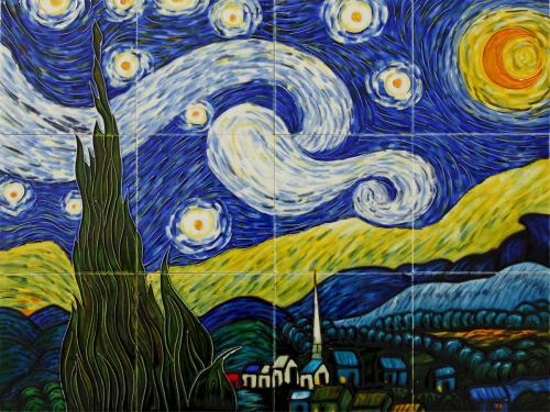 Art Reproduction Oil Painting - Starry Night Mural Wall Tiles - Tile 18 X 24 - Hand Painted Canvas Art