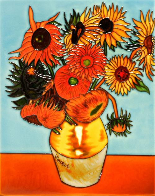Art Reproduction Oil Painting - Sunflowers Trivet/Wall Accent Tile - Tile 11 X 14 - Hand Painted Canvas Art
