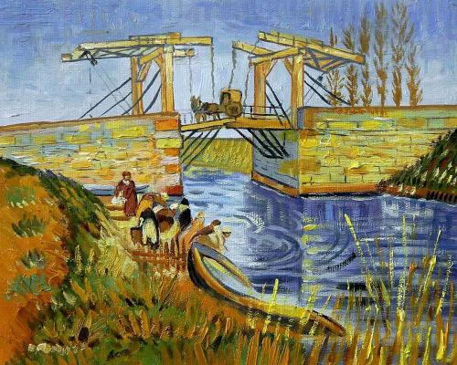 Van Gogh - Langlois Bridge at Arles with Women Washing - Small 8 X 10 - Hand Painted Canvas Art