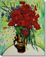 Vase with Daisies and Poppies Wall Tile