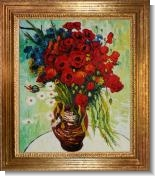 Van Gogh Paintings: Vase with Daisies and Poppies Oil Painting Pre-Framed
